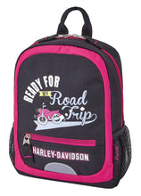 Load image into Gallery viewer, Harley-Davidson® Kids' Mini Road Trip Travel Backpack - Pink/Black - 99847