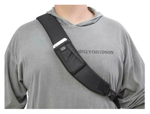 "Harley-Davidson® Bar & Shield Quilted Travel Sling, 90820-SILVER.  Perfect for riding, this unique oversized sling backpack is also designed for travel with a ""piggy-back"" strap to allow bag to slide over handle on luggage."