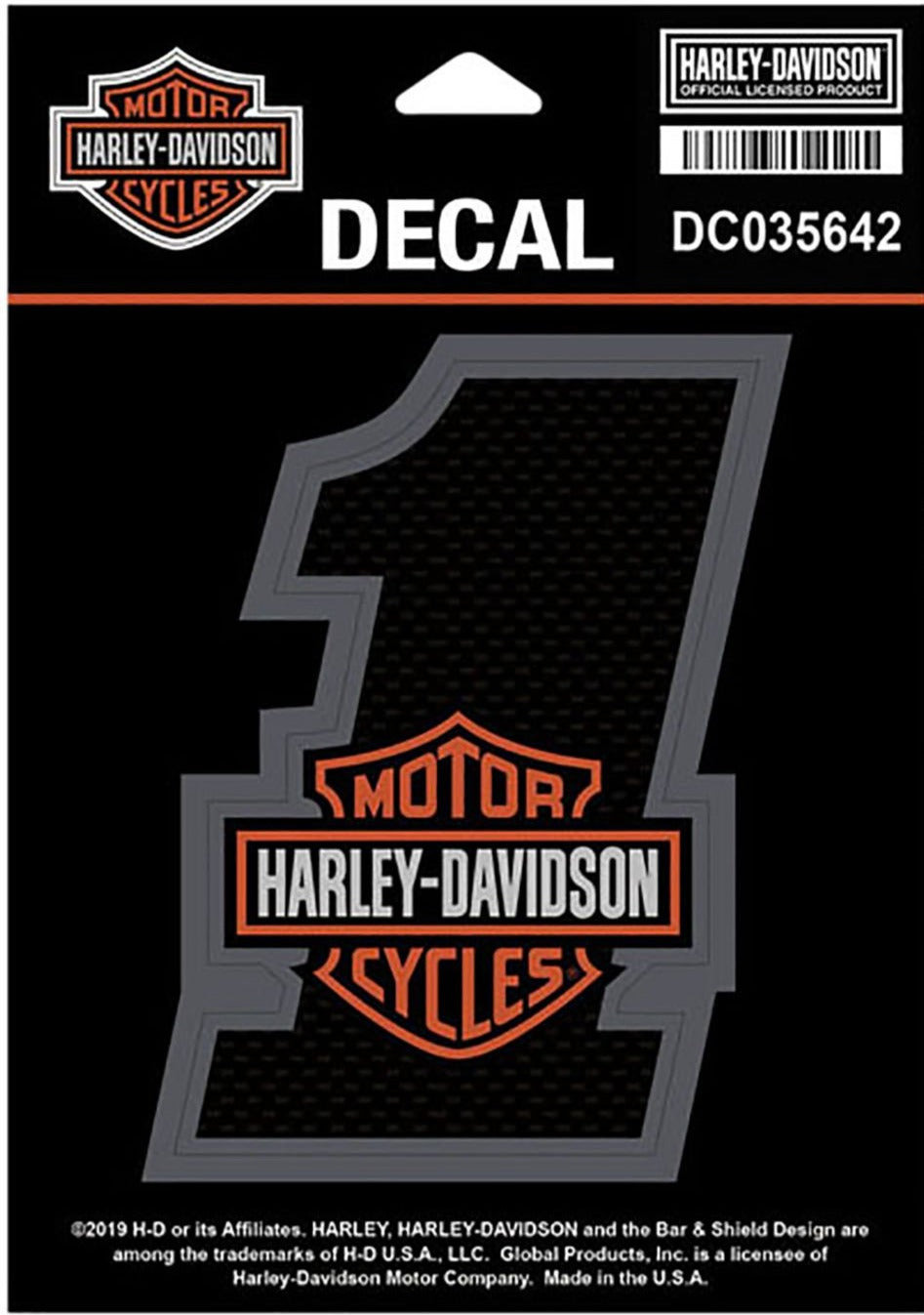 Harley-Davidson® #1 Bar & Shield Decal, Small Size - 3.25 x 4.25 inches - DC035642
