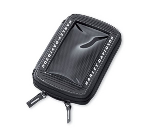 This Harley-Davidson portable music system pouch 76000193 is designed for motorcycle use. Simply plug in your headphones or connect your in-dash Advanced Audio Radio with an auxiliary cable or Boom!™ Audio iPod® Interface and enjoy your music collection or GPS tracker.  Works well with many MP3 and personal music players.