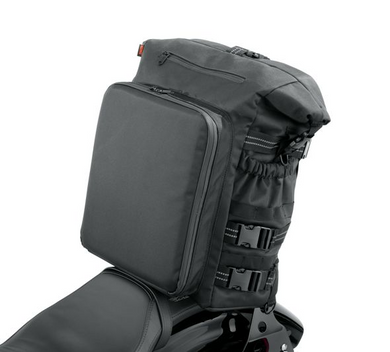 Harley-Davidson® Overwatch Large Sissy Bar Bag - 93300120.  The Harley-Davidson® Overwatch Large Sissy Bar Bag features a cavernous main compartment large enough to accommodate enough clothes for a long weekend trip. Sunglasses and other small items fit conveniently in the small front pocket while the draw-bridge style outer pocket features two removable tool pouches (tools not included) which can also be used to organise cords and key. An elasticised side pouch fits a large water bottle.