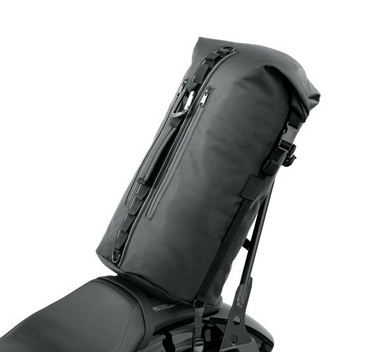 Keep your gear dry with the Harley-Davidson® Overwatch Dry Bag. 93300119. This water-resistant bag has a large main compartment that features a roll top design with quick-release buckle closures and abrasion-resistant non-slip material on the bottom. Two outer zip pockets are great for storing smaller items.