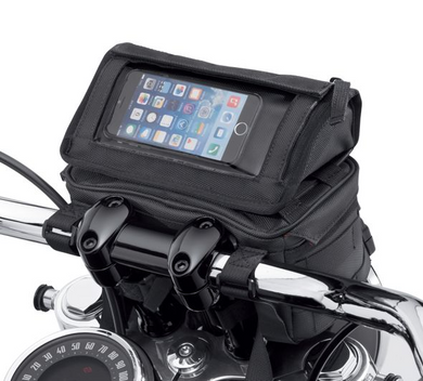 Harley-Davidson® Overwatch Large Handlebar Bag - 93300122.  The roomy Overwatch Large Handlebar Bag is the ultimate in style and practicality. This bag features a removable top compartment with a clear plastic touchscreen pouch that is perfect for holding your phone or GPS. The top pouch also has a zippered compartment that is perfect for storing your wallet and keys. The larger main compartment features one zip and one mesh pocket for organisation.