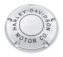 Load image into Gallery viewer, Harley-Davidson® Motor Co. Derby Cover - Chrome- 25338-99B.  This collection personifies Harley® style. It had better, because we put our name on it - The Harley-Davidson® Motor Co. Fits '99-'00 Evolution® 1340, '99-'17 Dyna®, '99-'18 Softail® (except FLSB) and '99-'15 Touring and Trike models (except FLHTCUL, FLHTKL or '07-'15 Touring or Trike models with Narrow-Profile Outer Primary Cover P/N 25700385 or 25700438).