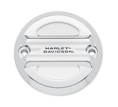 Harley-Davidson® Airflow Timer Cover - Chrome - 25600099.  Shaped to cheat the wind. The polished and mirror-chromed Airflow Collection features a raised bridge with 3 laminar grooves that float over the recessed panels. The layered surfaces capture light and shadows, and frame the subtle black-filled Harley-Davidson® signature.