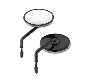 Harley-Davidson® Edge Cut Dome Mirrors - 56000090  Keep an eye on everything, while everyone keeps an eye on you. These compact billet mirrors feature glass-smooth domed shells and wet-look black surfaces to reflect a new contemporary style.