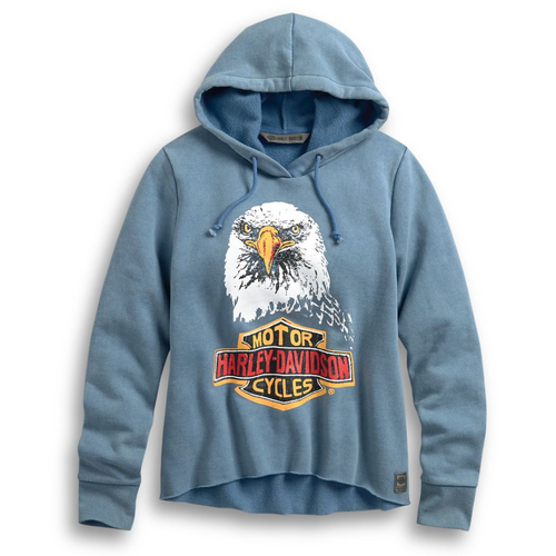 A trip through the archives inspired the retro imagery on this women's hoodie. The From The Archives Eagle Pullover Hoodie presents incredible graphics of the iconic Bar & Shield logo and an epic stare down from our legendary eagle. The soft sweatshirt fleece features a raw-edge hem as if the rider snipped off the rib-knit band for a custom, upcycled accent.  96099-20VW