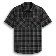 Load image into Gallery viewer, Want style without making a scene? Go with the dark, moody plaid on the Flaming Skull Patch Plaid Shirt. Soft, lightweight cotton poplin is washed for all-day softness. Embroidered graphics and an awesome skull patch add a punch of colour to this men's short sleeve shirt.
