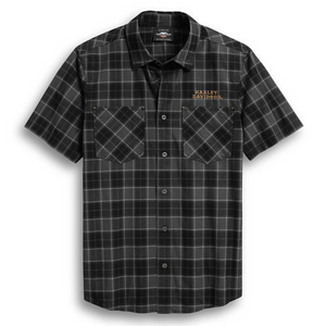 Want style without making a scene? Go with the dark, moody plaid on the Flaming Skull Patch Plaid Shirt. Soft, lightweight cotton poplin is washed for all-day softness. Embroidered graphics and an awesome skull patch add a punch of colour to this men's short sleeve shirt.