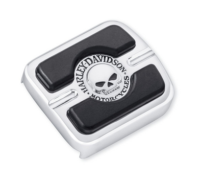Harley-Davidson® Willie G Skull Brake Pedal Pad - Small - Chrome - 42710-04  Add a little attitude to your ride. Styled to complement Harley-Davidson® Skull accessory items, the menacing raised skull with black-filled eyes leaps from a field of chrome.
