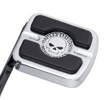 Load image into Gallery viewer, Harley-Davidson® Willie G Skull Brake Pedal Pad - Small - Chrome - 42710-04  Add a little attitude to your ride. Styled to complement Harley-Davidson® Skull accessory items, the menacing raised skull with black-filled eyes leaps from a field of chrome.