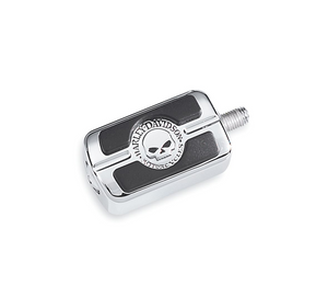 Harley-Davidson® Willie G Skull Shifter Peg - Chrome - 34689-04  Add a little attitude to your ride. Styled to complement Harley-Davidson® Skull accessory items, the menacing raised skull with black-filled eyes leaps from a field of chrome.