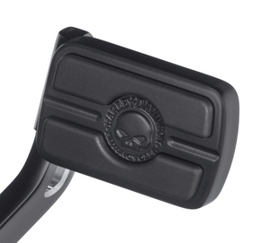 Harley-Davidson® Willie G Skull Brake Pedal Pad -Small - Black - 50600344  Penned at the hand of Willie G®, the famous Skull Collection makes a shift to the dark side. Completely drenched in black, the raised skull and surrounding Harley-Davidson® Motorcycle script adds a subtle ominous touch to your ride.