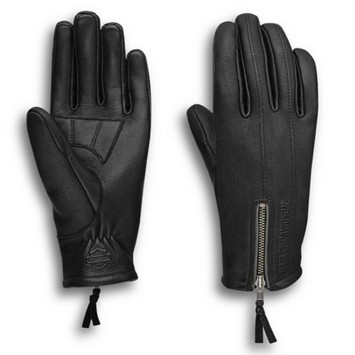 Get a handle on comfort with the Writ Perforated Leather Gloves. Premium goatskin leather is engineered with exact fourchette perforations. The precision maximizes airflow to help inhibit sticky, clammy palms. Pre-curved fingers and ergonomic thumb also aid a comfortable grip. A unique reflective zipper helps keep you visible and offers secure closure. And for a unified look, these women's motorcycle gloves coordinate with the women's Writ Leather Jacket.