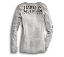 Load image into Gallery viewer, Harley-Davidson® Women's Skull Snap Front Long Sleeve Henley T-Shirt