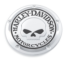 Load image into Gallery viewer, Harley-Davidson® Willie G Skull Derby Cover - 25441-04A.  Add a little attitude to your ride. Styled to complement Harley-Davidson® Skull accessory items, the menacing raised skull with black-filled eyes leaps from a field of chrome.