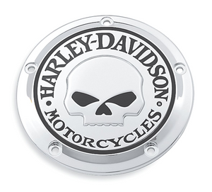 Harley-Davidson® Willie G Skull Derby Cover - 25441-04A.  Add a little attitude to your ride. Styled to complement Harley-Davidson® Skull accessory items, the menacing raised skull with black-filled eyes leaps from a field of chrome.