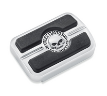 Load image into Gallery viewer, Harley-Davidson® Willie G Skull Brake Pedal Pad - Small - Chrome - 50600313.  The deep black rubber pads are set against a brilliant polished and chrome-plated field to yield the dramatic appearance of the Skull Collection.