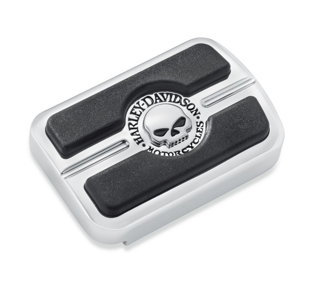 Harley-Davidson® Willie G Skull Brake Pedal Pad - Small - Chrome - 50600313.  The deep black rubber pads are set against a brilliant polished and chrome-plated field to yield the dramatic appearance of the Skull Collection.