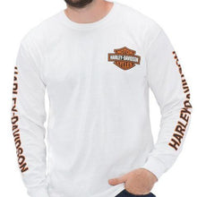 Load image into Gallery viewer, Port City Orange Bar & Shield Long Sleeve T-Shirt - White