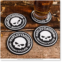 Load image into Gallery viewer, Harley-Davidson® Skull Coasters Set - 4 Rubber Coasters