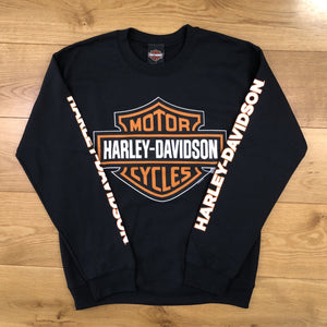 Port City Harley-Davidson Bar & Shield Crew Neck Fleece - Black / Sleeve Print