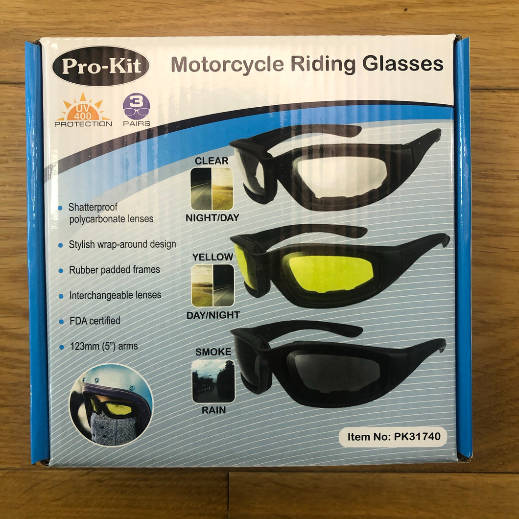 Pro-Kit Motorcycle Riding Glasses - 3 Pack (Clear, Yellow and Smoke Lens)