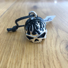 Load image into Gallery viewer, Harley-Davidson® Black Flames Skull Silver Ride Bell HRB039