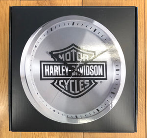 Harley-Davidson® Core Metal Chrome Bar & Shield Logo Clock, 12 inch