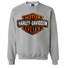 Load image into Gallery viewer, Port City Harley-Davidson  Bar & Shield Long Sleeve Crew Neck Fleece Sweatshirt - Heather GreyClassic fit