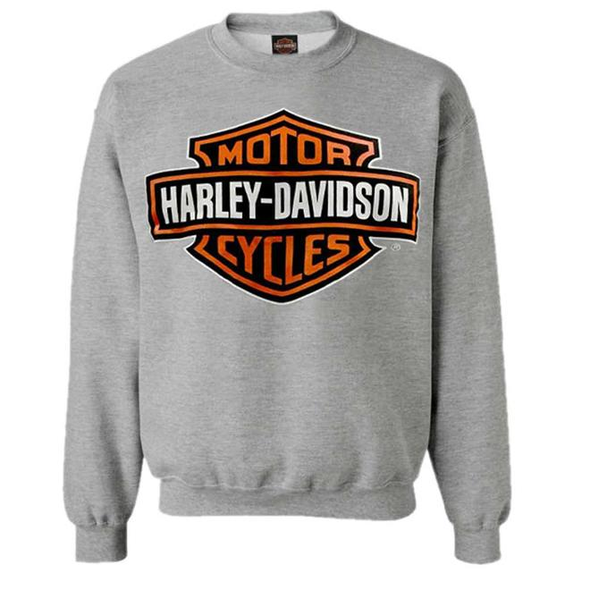 Port City Harley-Davidson  Bar & Shield Long Sleeve Crew Neck Fleece Sweatshirt - Heather GreyClassic fit