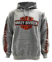 Load image into Gallery viewer, Port City Harley-Davidson Elongated B&S Fleece Hoodie - Heather Grey