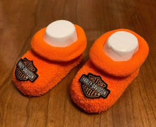 Load image into Gallery viewer, Harley-Davidson® Newborn Baby Booties | Boxed | Fits 0-3 Months