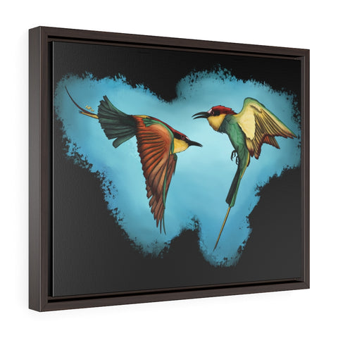 African Bee Eaters Horizontal Framed Premium Gallery Wrap Canvas