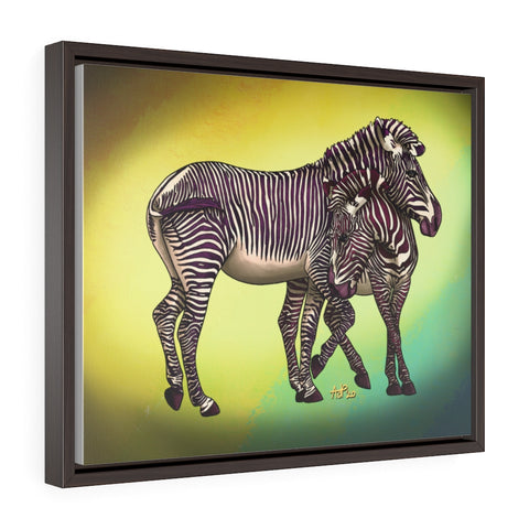 Zebra Framed Premium Gallery Wrap Canvas