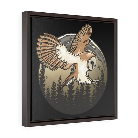 Barn Owl World Square Framed Premium Gallery Wrap Canvas