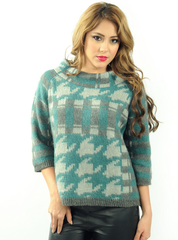 Puzzle Me Wide Neck Pullover