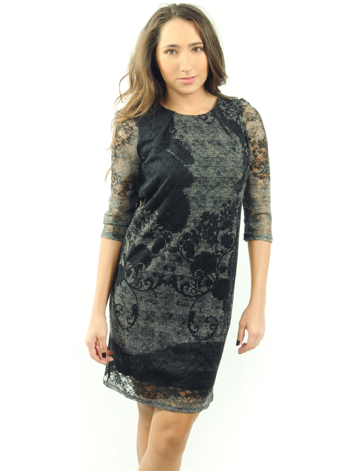 La Fee Contrast Knit Lace Dress