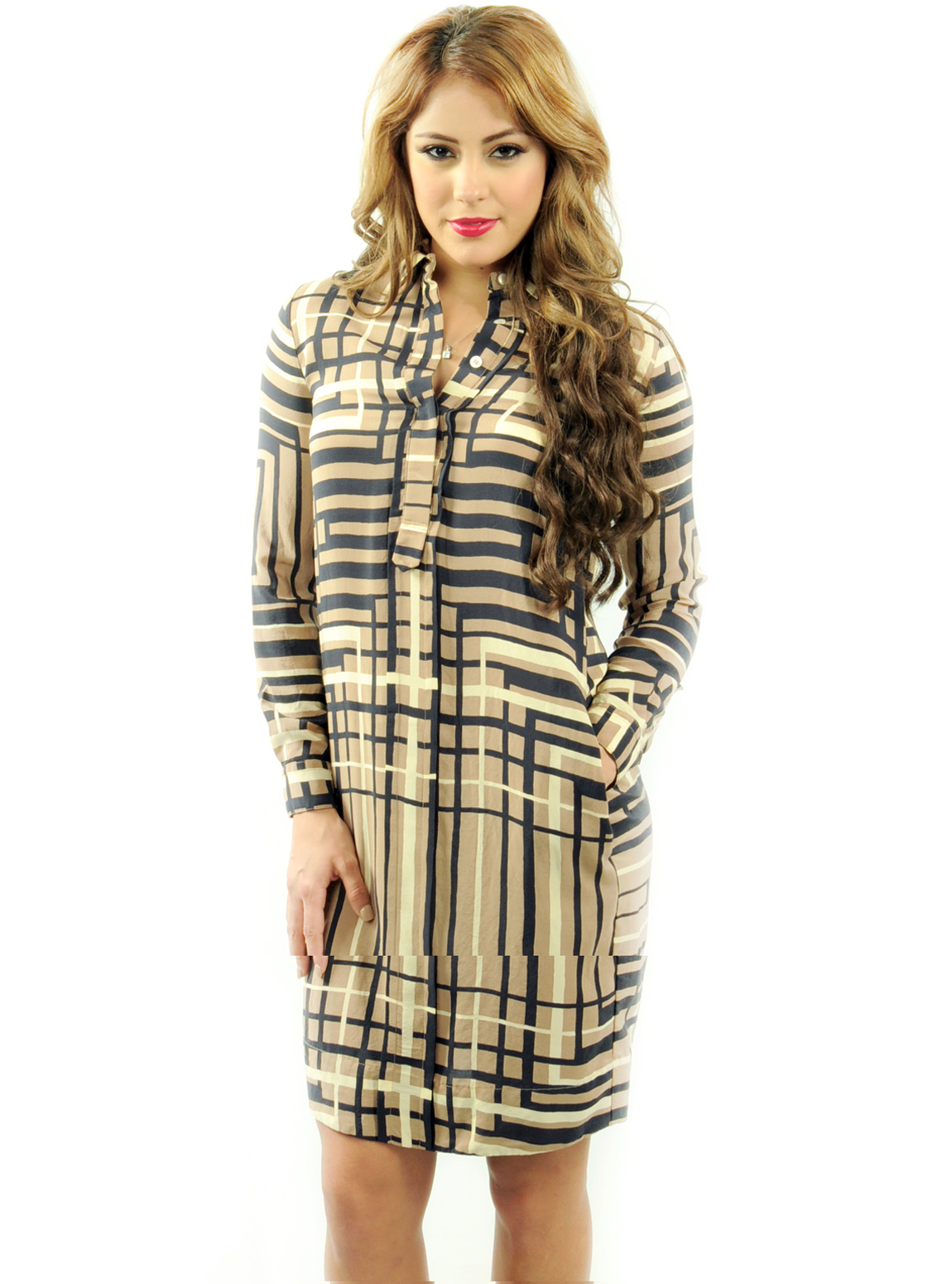 Check on Check Button Up Shirt Dress