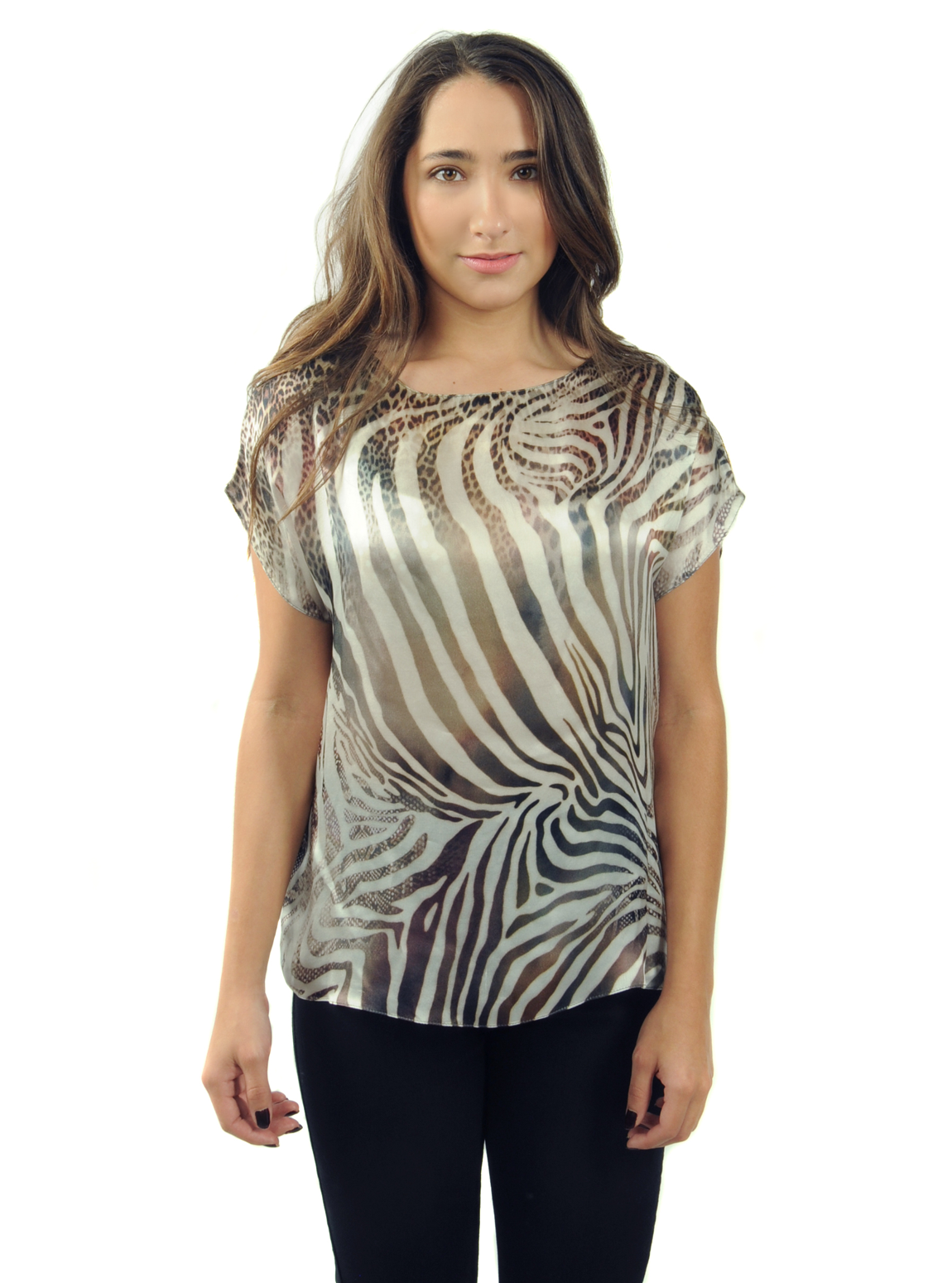 Animal Print Short Sleeved Blouse