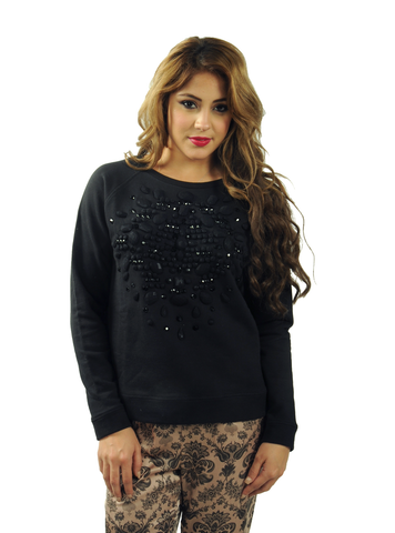 Rhinestones and Jersey Pullover