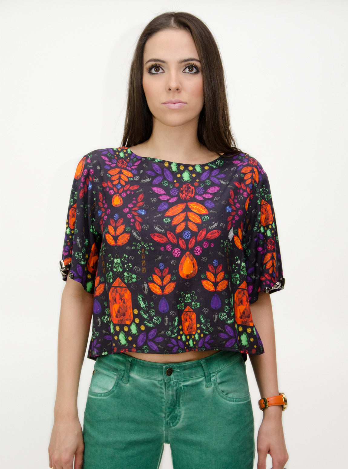 Tropical Stones Print Blouse