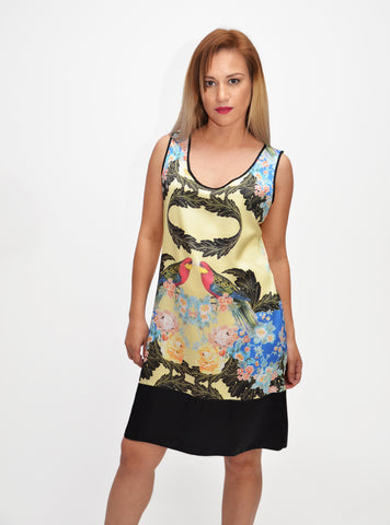 Asian Bird Sleeveless Dress
