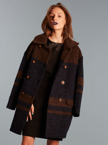 Plaid Large Button Coat