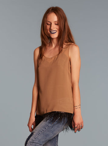 Shear Feather Fringe Tank Blouse