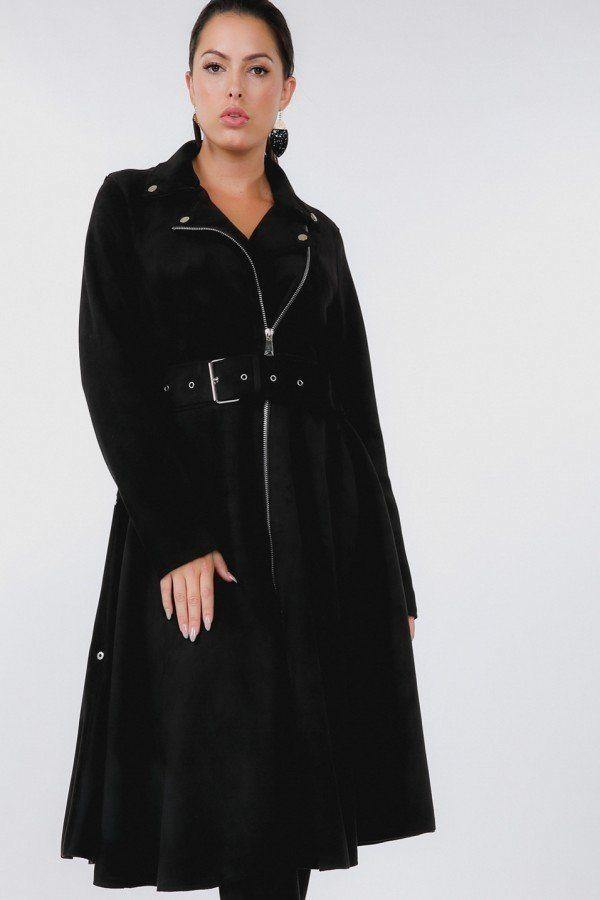 Black Waist Belt Tacked Faux Suede Coat