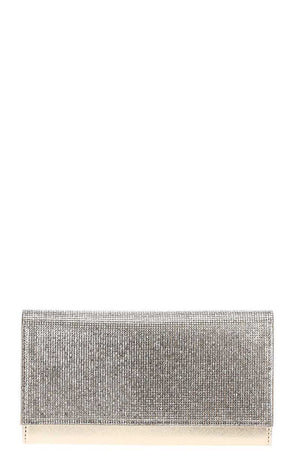 Stylish Multi Rhinestone Party Clutch With Chain
