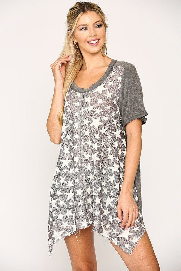 Star Textured Knit Mixed Tunic Top With Shark Bite Hem - GirlSavvi Shops