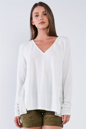 Off-white Loose Fit Long Sleeve V-neck Mesh Detail Tunic Pullover Top - GirlSavvi Shops