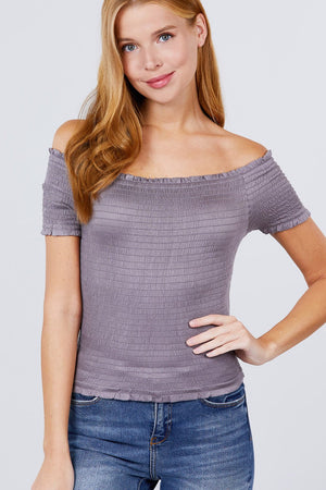 Short Sleeve Off The Shoulder Smocked Rayon Spandex Top - GirlSavvi Shops